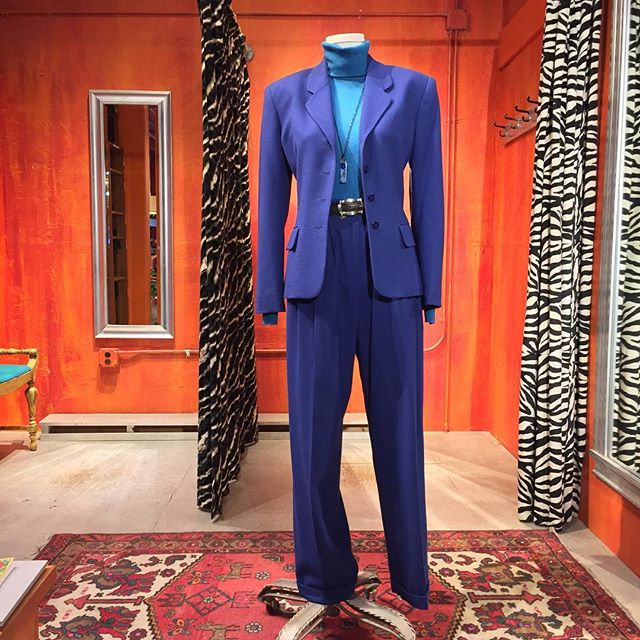 Happy Birthday Hilary! Jones New York wool pantsuit. Size 6. $36. Cashmere t-neck sweater sold separately.