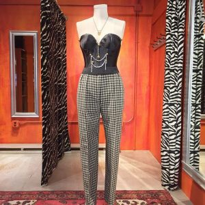 Christian Dior high waisted houndstooth wool pants. Vintage Size 10. $36. Embellished bustier sold separately.