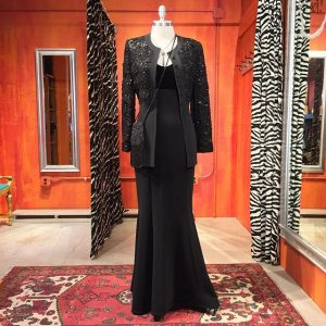 A.B.S. Evening Collection velvet bodice mermaid gown. Size 8. $59. Sonia Rykiel beaded jacket sold separately.