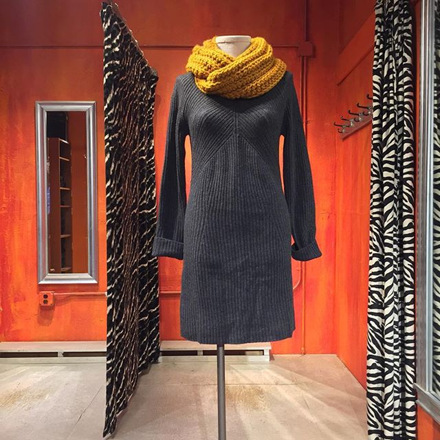 Rag & Bone wool sweater dress. Size Large. $95. SoRoBella turmeric loop scarf sold separately.