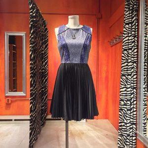 Bensoni silk & cotton cocktail dress with knife pleat skirt. Size 4-6. $44.